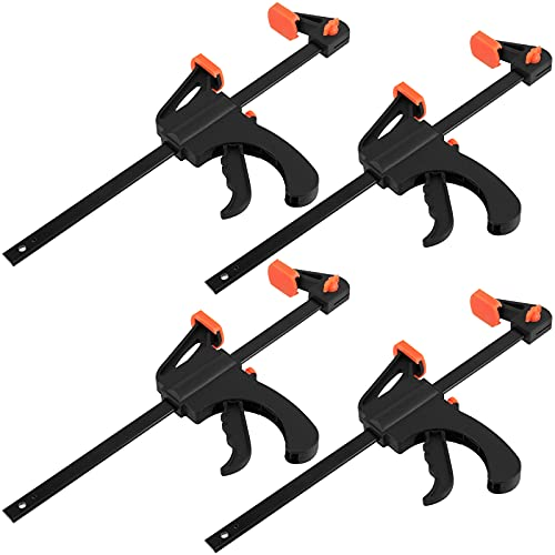 SEHOI 4 Pack 10 Inch Bar Clamp, Quick Grip Clamp with 16 Inch Spreader, Flexible One-Handed Ratchet Bar Clamp for Woodworking