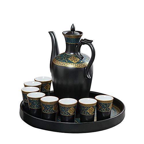 JINGJIN - Juego de tazas de sake de porcelana de alta gama, incluye 1 tarro para sake y 6 tazas de sake y 1 recipiente para la familia y los amigos