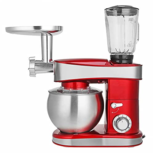 QiHaoHeji Mezclador de Alimentos eléctrico de Cocina 3 En 1 Stand Stand Stand Molinillo 220V-240V 50Hz 1200W Máquina De Cocina Máquina Licuadora Juicer (Color : Red, Size : 6.5L)