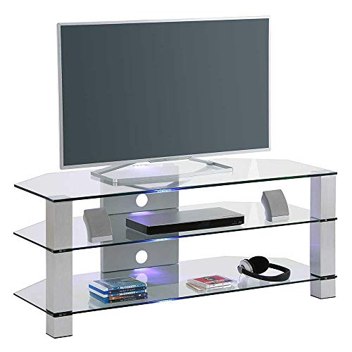 Pharao24 TV Tisch aus Sicherheitsglas Metall LED Beleuchtung Energieeffizienzklasse LED
