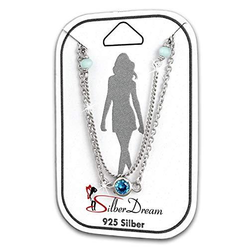 SilberDream Fußkette 925er Silber 25cm Perlen Damen Zirkonia türkis D1SDF5025T