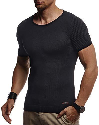 Leif Nelson Herren Sommer T-Shirt Rundhals Ausschnitt Slim Fit aus Feinstrick Cooles Basic Männer T-Shirt Crew Neck Jungen Kurzarmshirt O-Neck Sweater Shirt Kurzarm Lang LN20754 Schwarz Medium