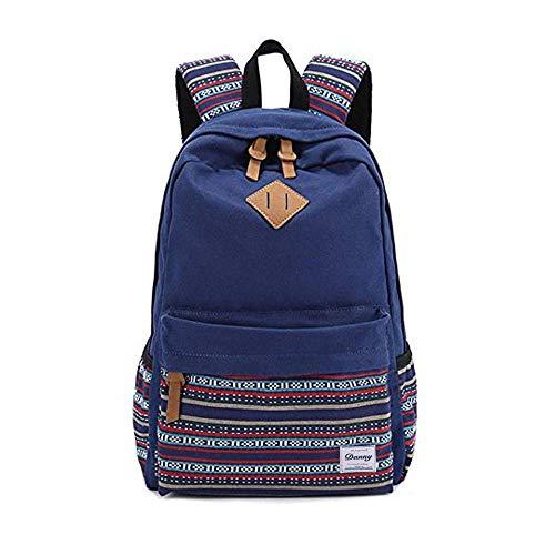 Danny®lona mochila Vintage colorida banda escuela para jóvenes adolescentes y niñas ligero lindo impermeable Casual mochila tiene 14 pulgadas Laptop escuela bolso mochila Azul