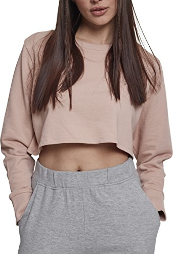 Urban Classics Damen Crop Pullover Ladies Terry Cropped Crewneck - Farbe lightrose, Größe S