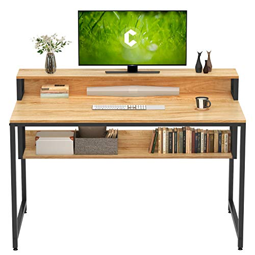 Cubiker Computer Home Office Desk, 47' Small Desk Table with Storage Shelf and Bookshelf, Study Writing Table Modern Simple Style Space Saving Design, Natural
