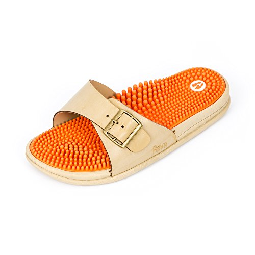 Revs Premium Acupressure & Reflexology Massage Sandals Women. Shock Absorbing, Cushion Sole with Orthotic Arch. A Natural Drug-Free Therapy Orange Ivory 9.5-10 Wide