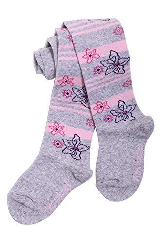 Weri Spezials Baby und Kinderstrumpfhosen für Mädchen mit einem Ringel/Blume Muster in verschiedenen Farben. (98/104, Silber/Rosa)
