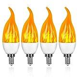 Pack de 4 Bombillas LED, 3W E14 Bombillas de Efecto de llamas, 3 Modos de iluminación, Decoración para Halloween, Navidad, Fiestas y Hogar Jardín