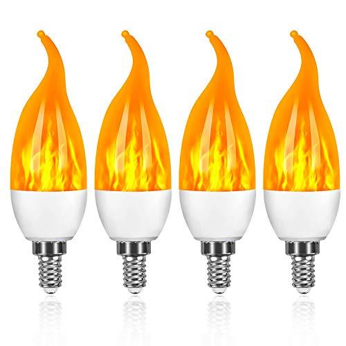 Swonuk 4 Stück Flamme Glühbirne, 3W E14 Flammen Lampe Flammen-Effekt-Glühlampen LED mit 3 Beleuchtungs-Modi,Dekorative Retro Innenglühlampen im Freien für Halloween, Weihnachten, Garten-Hochzeitsfest