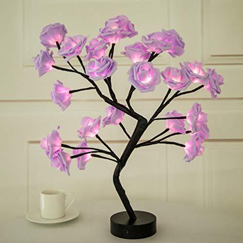 Mobestech Table Lamp Pink Rose Flower Tree Light Gift for Girls Women, Rose Flower Night Lamp Tabletop Tree Light for Valentines Day Boda Home Bedroom