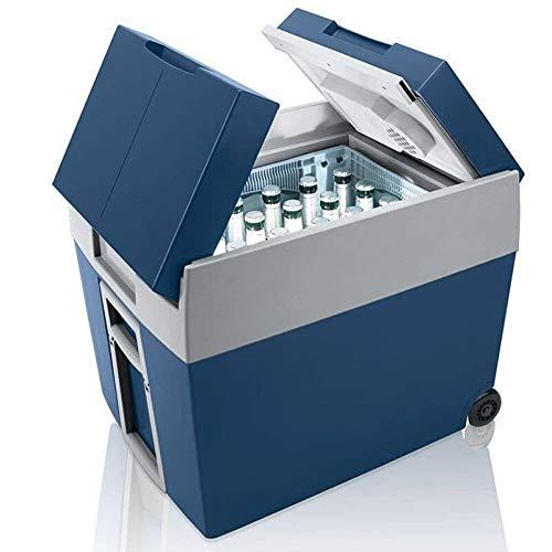 ADHW Koelbox met wieltjes, 40 liter, warm houden en koelen, 51 kwart, 48 liter, dual 220 V AC, huis- en 12 V DC voertuigstekker, picknick, beuken, lunch, camping box, koeler blauw