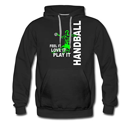 Spreadshirt Handball Feel It Love It Play It Handballer Männer Premium Hoodie, M, Schwarz