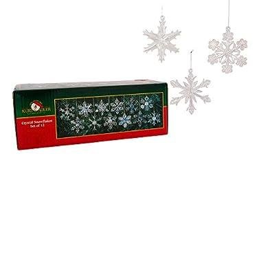 Kurt Adler 2  Glass Iridescent Snowflake Ornaments, 12-Piece Set