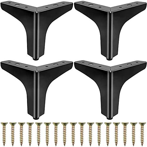 4 Piezas Patas de Mueble Triangulares Moderna Patas de Mesa 10CM Pies de Cajones con Tornillos Metal Negro Mate Gabinete Armario Cajones Mesita de Noche