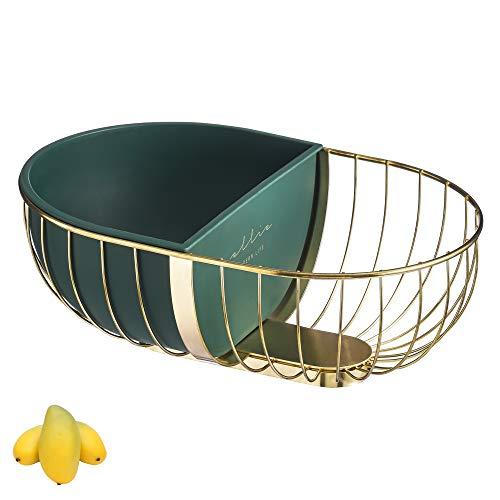 Cesta multifuncional de hierro dorado, caja interior extraíble de gran capacidad de almacenamiento de frutas para frutas, verduras, pan, caramelo. Oro