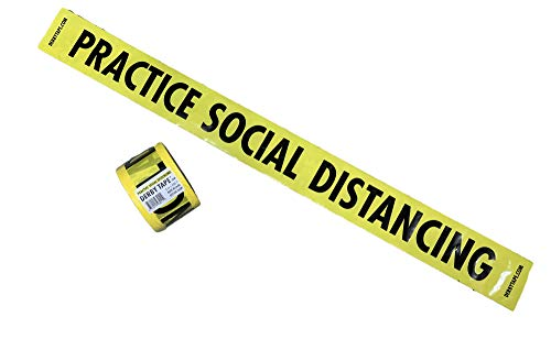 Premium Yellow PRACTICE SOCIAL DISTANCING Tape • 3 inch x 200 feet • Bright Yellow w/Bold Black Text CAUTION tape • 3' wide for Maximum Readability