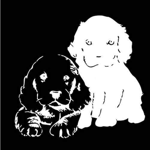 GenericBrands 3 Piezas Pegatina de Coche 17,8 CM * 16,7 CM Mascotas Cachorros Perros Vinilo calcomanía Coche Pegatina Animales Blanco