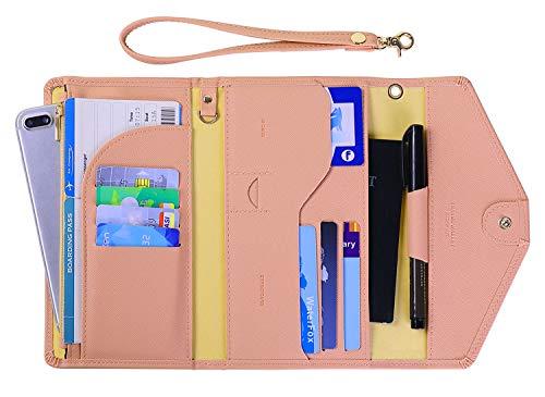 Zoppen Passport Holder Travel Wallet (Ver.5) for Women Rfid Blocking Multi-purpose Passport Cover Document Organizer Strap,Pink