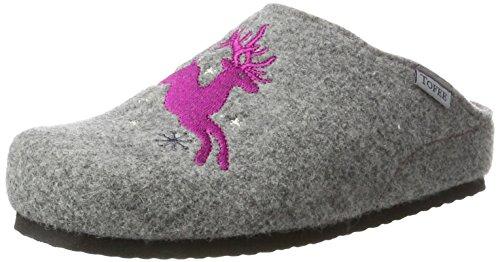 TOFEE Damen 74-552 Hirsch Pantoffeln, Grau (Grau/Pink), 38 EU