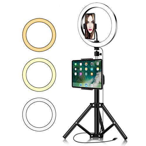 LED lumière Anneau Selfie Light Ring for Stream Live/Youtube Vidéo/Photographie, Beauté Lumière LED Anneau avec trépied et téléphone Clip & Universal Mobile Phone Tablet Clip