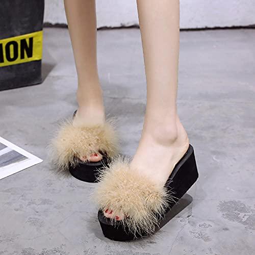 Chancla Puma Mujer,Las Nuevas Zapatillas De Piel Gruesa De Peluche De Moda, Pendiente De Fondo Plano De Verano para Mujer con Flip-Flops, Desgaste Zapatillas De Playa De JardíN De Todos Los Partidos