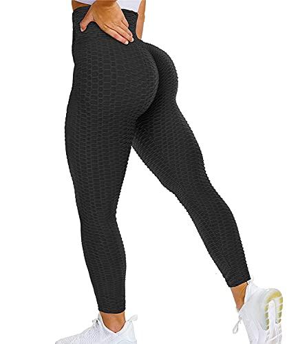DUROFIT Leggings Push up da Donna Anticellulite Yoga Pants Scrunch Elastica Pantaloni Sportivi Ginnastica Fitness Slim Allenamento per Palestra Aggiornato Nero M