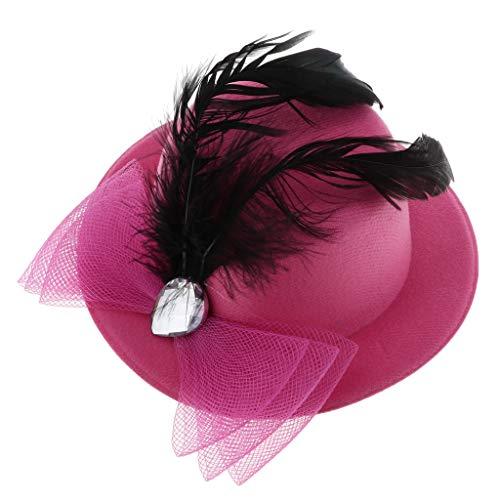 SM SunniMix Gothique Mini Chapeau Plume Fascinator Base Chapellerie Décor De Partie Pour Enfants Filles - Style 3-Rose