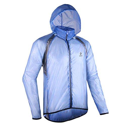GWELL Leicht Fahrradjacke Regenjacke Wasserdicht Winddicht Atmungsaktiv für Herren blau M