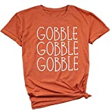 ❤SOFT FABRICS: The gobble Thanksgiving tshirt for women is made of cotton blend, the fabric is soft and will not shrink significantly in the wash. Recommended machine wash cold inside out with like colors / tumble dry low/hand wash ❤NEW THANKSGIVING ...