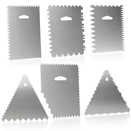 COM-FOUR® Ensemble de grattoirs à pâte 6 pièces - spatule à gâteau en aluminium - outil de modelage pour la cuisson et la cuisson - palette à tartiner avec 23 motifs