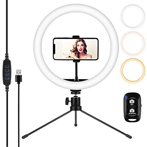 Anillo de luz de Escritorio de 12 Pulgadas con Soporte y Soporte para teléfono, Anillo de luz LED Selfie con Control Remoto inalámbrico, 3 Modos de Color y 10 de Brillo, Alimentado por USB