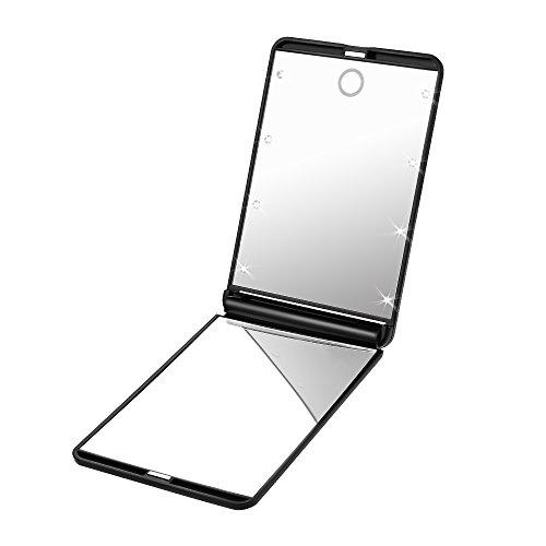 PLEMO Miroir Lumineux de Poche BE-001 pour Maquillage Cosmétique Portable, Deux Visages Pliables Grossissant 1x et 2x, Eclairage 8 LED avec Piles, Noir