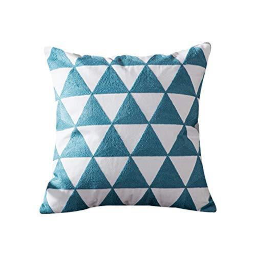Liaobeiotry Housse de coussin brodée Bleu géométrique Turquoise Taie d'oreiller décorative pour la maison, le canapé, le siège de voiture, fournitures d'oreillers 7