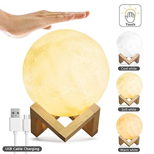 15 cm LED Mond Lampe 3D Nachtlampe, Kohree Mondlampe Dimmbar Wiederaufladbar 3 Farben mit USB, Halterung Dekoleuchte Mondlicht Tragbar Nachtlicht für Schlafzimmer, Kinder, Geburtstag, Weihnachten