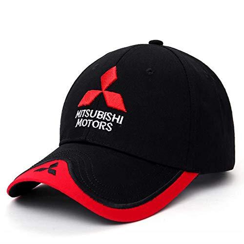 YIFEID Cap Herren 3D Mitsubishi Hut Kappen Auto Logo Moto Gp Racing F1 Baseballmütze Einstellbare Beiläufiges Trucket Hut,Schwarz