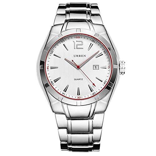 AZPINGPAN Calendario Relojes para Hombre, Sistema de 12 Horas Reloj de Pulsera Impermeable de Acero Inoxidable de Cuarzo Deportivo de aleación de Moda, Reloj de Pulsera de Negocios para Hombre