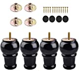 4 inch / 10cm Wooden Furniture Legs, La Vane 4PCS Black Soild Wood Spindle M8 Replacement Bun Feet with Pre-Drilled 5/16 Inch Bolt & Mounting Plate & Screws for Sofa Ottoman Cabinet Dresser