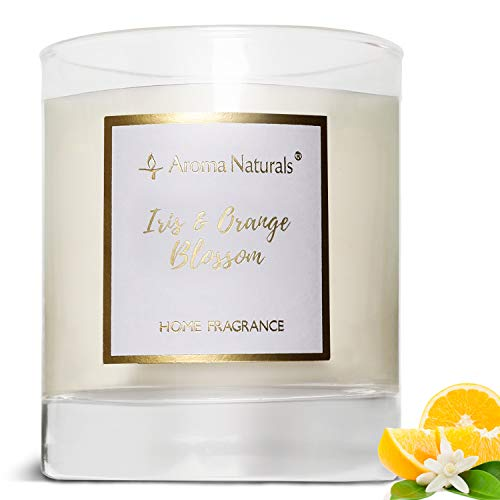 Aroma Naturals Scented Candle, 35 Hours Burning Time, Jar Candle with Natural Soy Wax, Gift Packing (Iris & Orange Blossom)