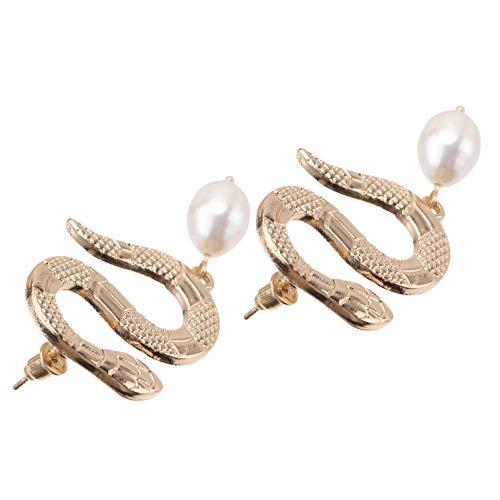 Holibanna 1 par de Pendientes Elegantes con Forma de Serpiente Accesorios para Los Oídos Joyas para El Oído (Dorado)