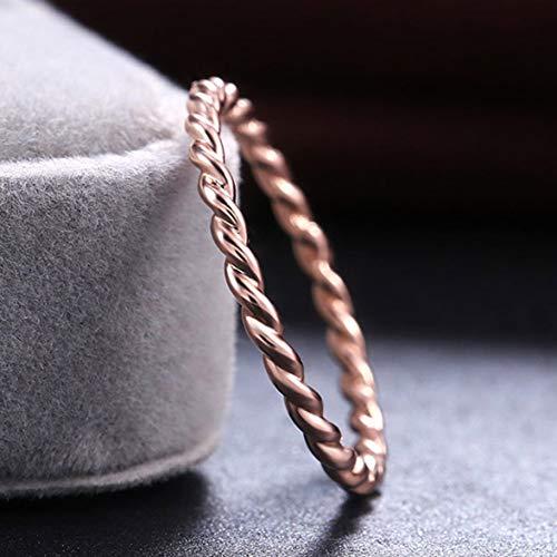 WFAL zuinige verdraaide vorm dunne 14K Rose Gold Twist Tope Stapelen trouwringen verlovingsring (None 9 RGD)