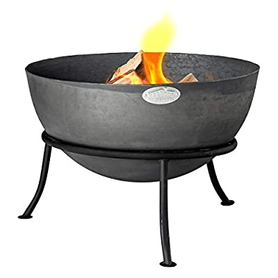 Harbour Housewares Cast Iron Fire Pit   Outdoor Garden Patio Heater Camping Bowl for Wood, Charcoal with Stand - 56cm Diameter by Harbour Housewares