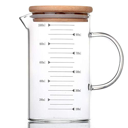Tings Borosilicaat Hittebestendige glazen schaalbeker Maatbeker Transparante beker Melk Koffiekopje Magnetron Bakglasbeker, met bamboe deksel