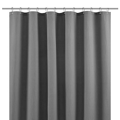 Short Shower Curtain Fabric with 66 inch Length, Waffle Weave, Hotel Collection, 230 GSM Heavy Duty, Water Repellent, Machine Washable, Gray Pique Pattern Decorative Bathroom Curtain