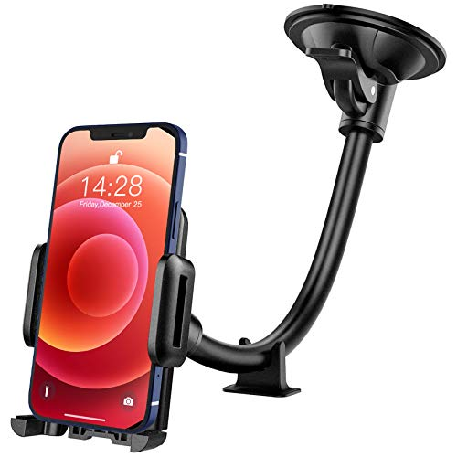Car Phone Holder , Mpow Windscreen Car Mount Grip Flex Universal Long Arm Windshield Car Cradle with Extra Dashboard Base for iPhone11 ProMax/11Pro/11/Xs Max/Xs/Xr/X/8/7, Galaxy S10/S9 Note LG,etc