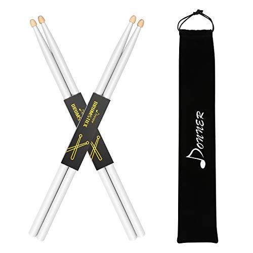 Donner 5A Drumsticks Weiß Klassisches Ahorn Holz 2 Paar mit Tasche