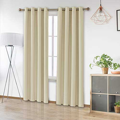 Amazon Brand – Umi Cortinas Opacas Dormitorio Moderno Aislantes Térmicas para Habitación con Ojales 2 Piezas 140x280cm Beige Oscuro