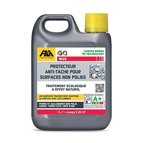 FILA Surface Care Solutions W68 Protettivo Trasparente antimacchia per superfici Non Lucide ad Effetto Naturale. Protegge i Materiali porosi Senza modificarne l'aspetto, 1 Litro