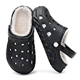 Nihaoya Girls Fleece Lined Clogs Unisex-Child Clogs Non-Slip Indoor Outdoor Mules Winter Shoes Garden Clogs Shoes Black 1