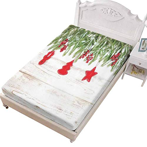 SoSung Queen Size Fitted Sheet Only - Stretch & Non-Slip Christmas Moon Hovering,Moon Santa Claus Reindeer Hovering in Winter SkySmall Village,Soft Decorative Fabric Bedding All-Round Elastic Pocket