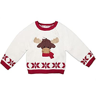 Zubels Baby Boys' Hand-Knit Cotton Moose Sweater, All-Natural, Toddler 4T, White